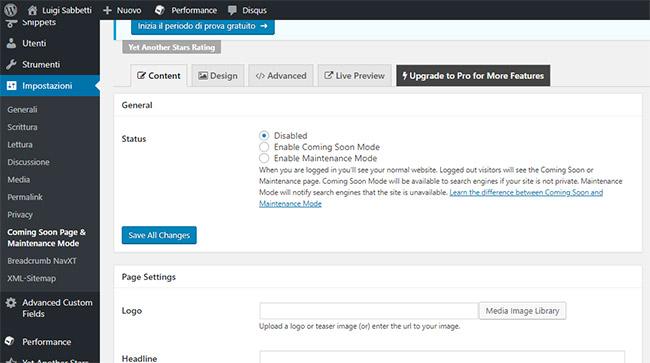 Plugin WordPress Manutenzione
