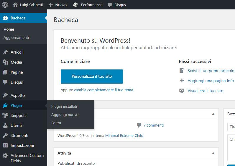 Amministrazione WordPress - Sezione Plugin