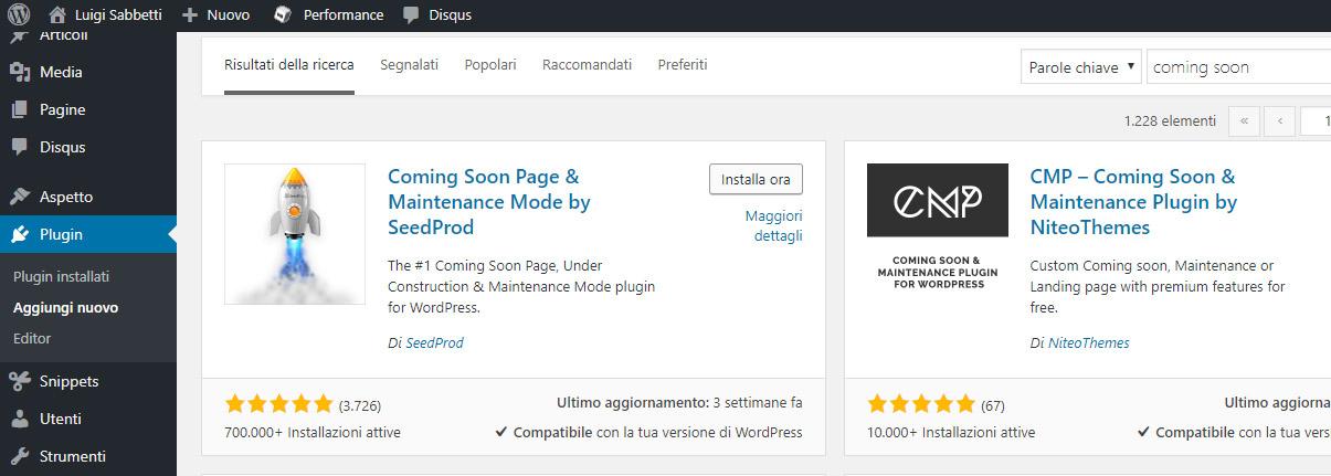 Plugin Coming Soon per WordPress