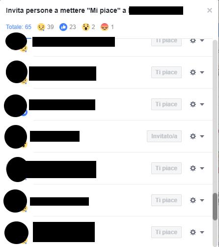 Invitare chi ha messo like ad un post Facebook