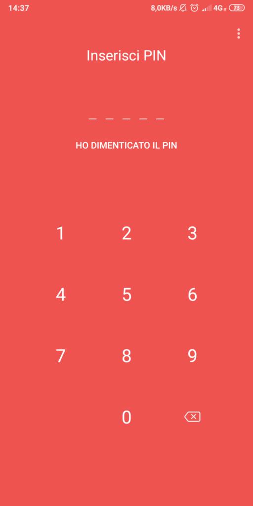 Schermata di accesso con inserimento PIN
