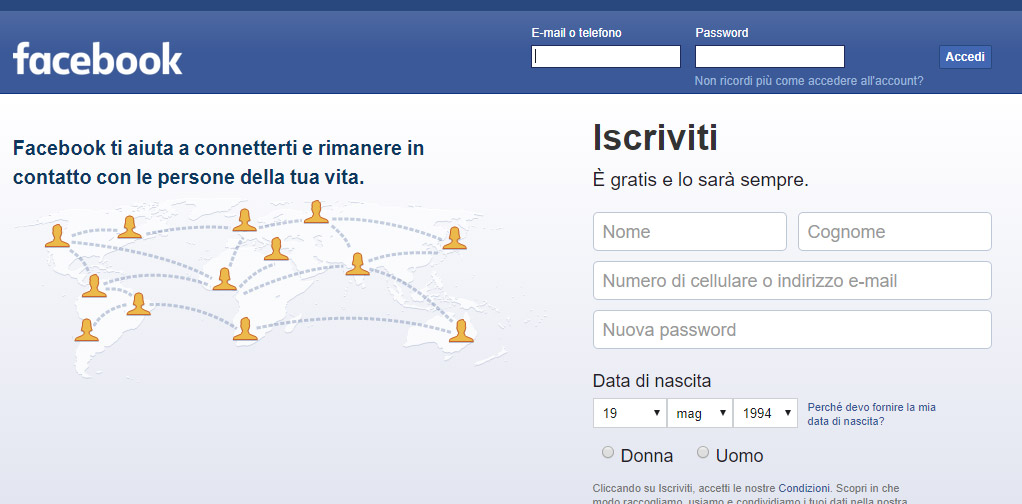 Come iscriversi a Facebook in incognito