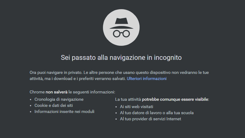 Navigazione in incognito con Google Chrome