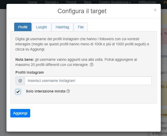 Configurazione del target