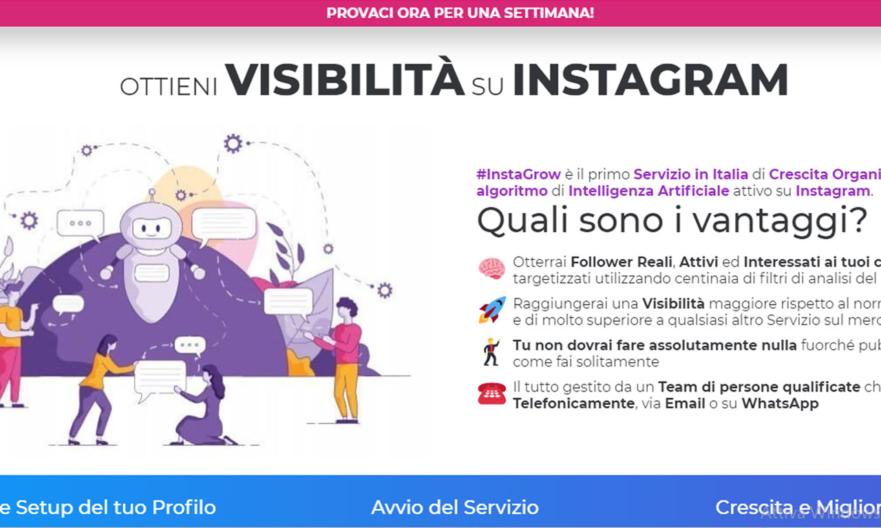 Instagrow: un efficace bot instagram per ottenere follower