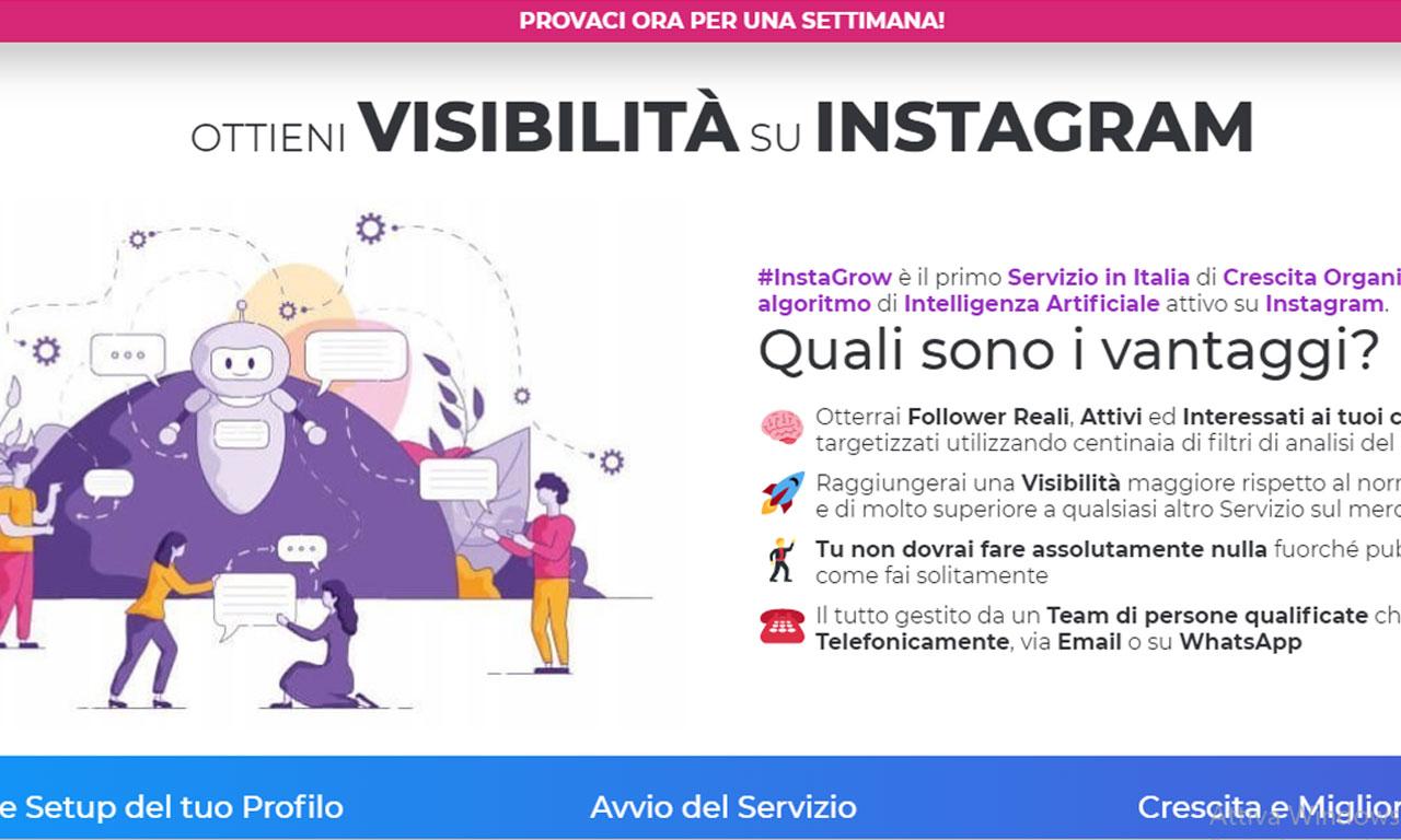 Instagrow: un efficace bot instagram per ottenere follower