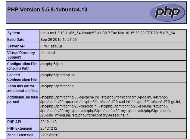 Versione di php in uso