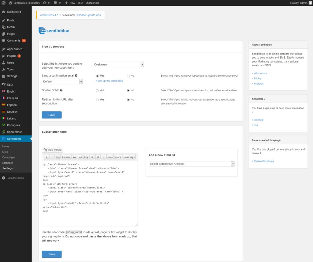 Una schermata del plugin Sendinblue