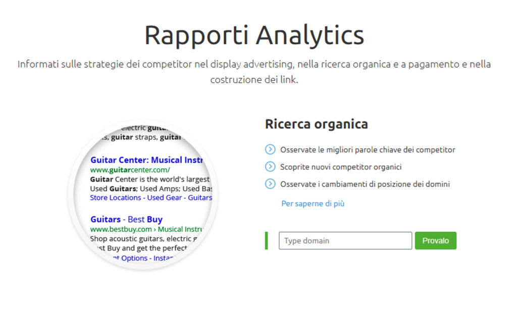 SEMrush - rapporti analytics