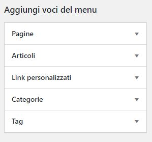 Voci di menù WordPress