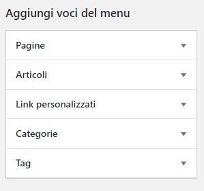 Voci di menù WordPress