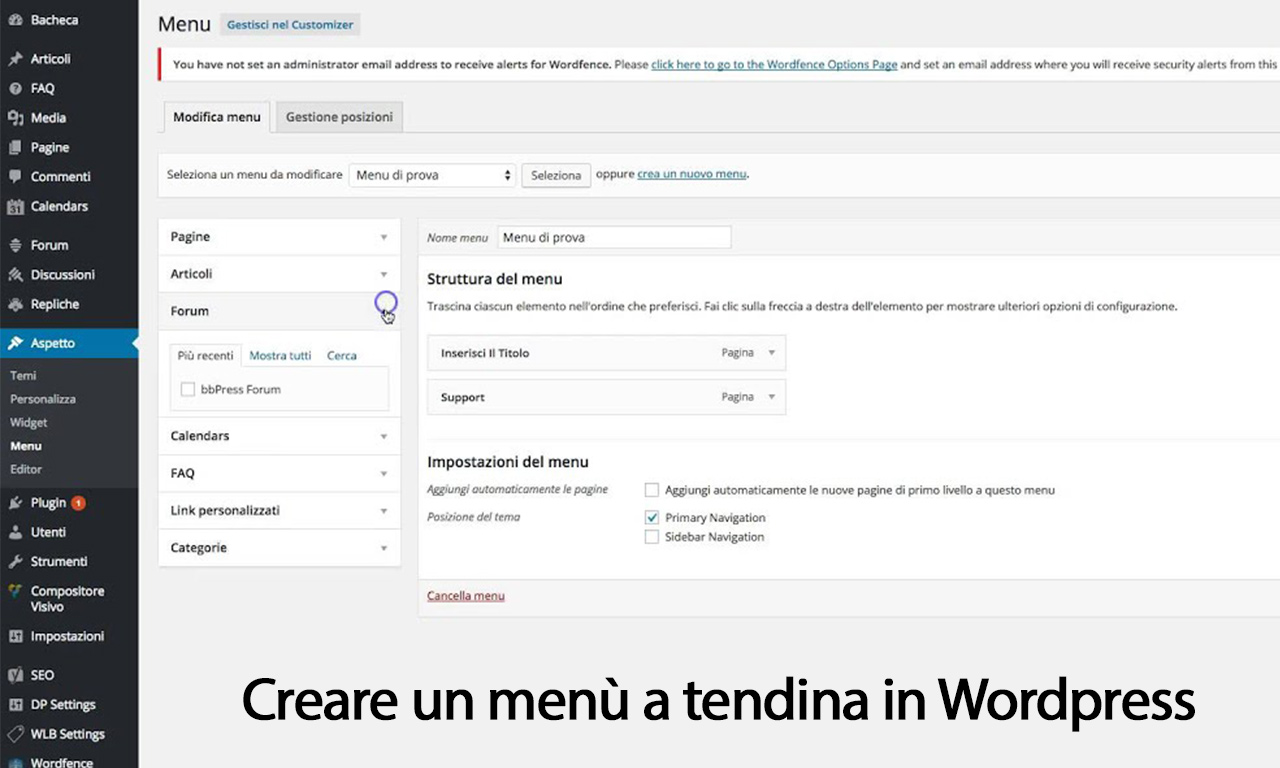come creare menu a tendina wordpress