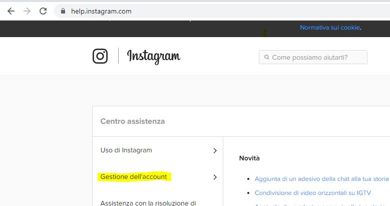 gestione dell'account instagram