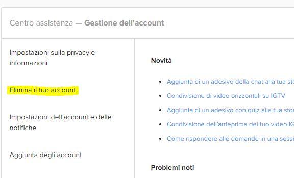Elimina il tuo account