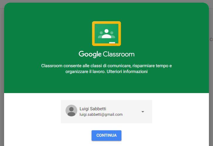 Google Classroom accesso