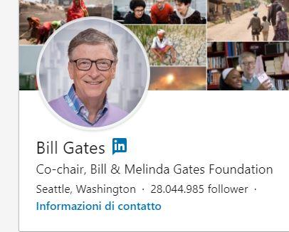 Foto del profilo utilizzata da Bill Gates