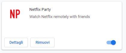 estensione netflix party attiva