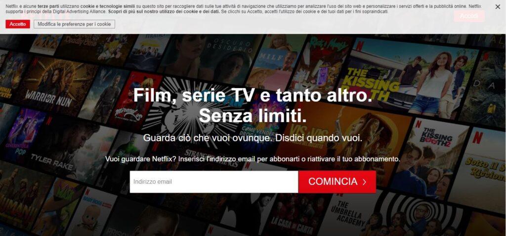 Il sito web di Netflix - Netflix.com