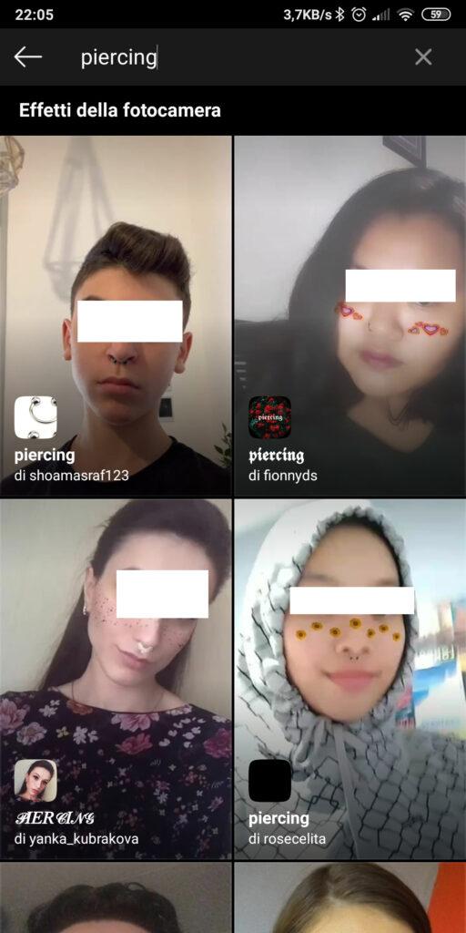 Filtro piercing di Instagram nelle storie
