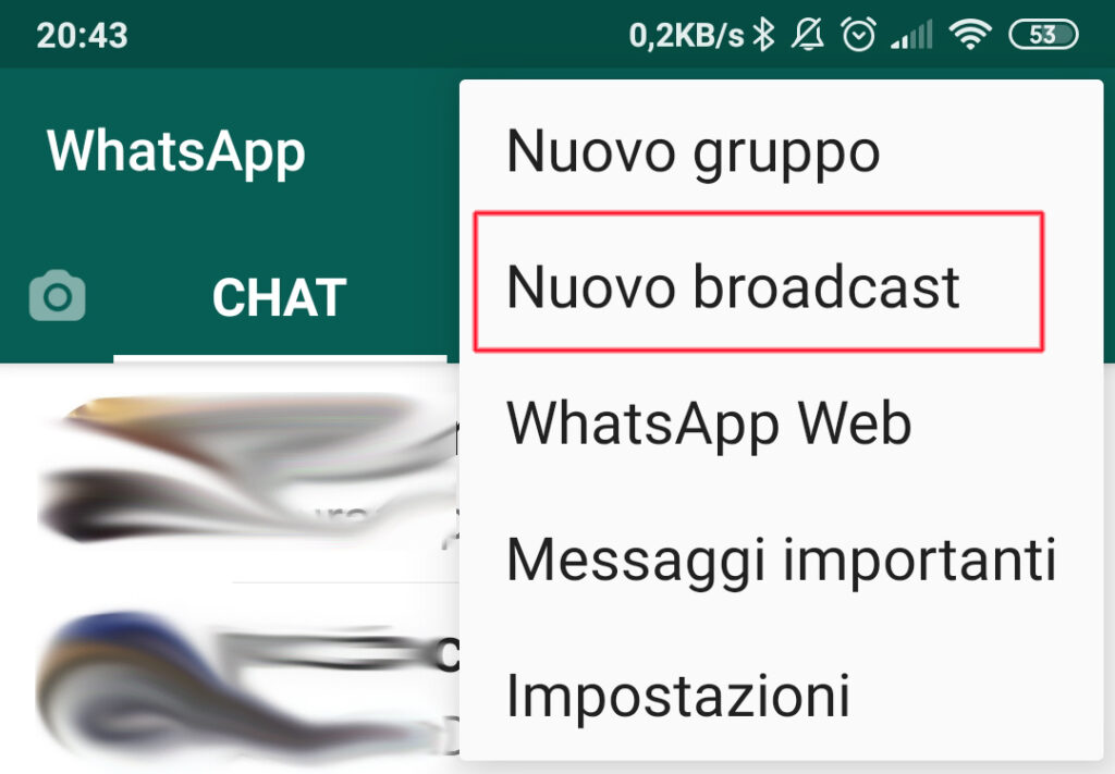nuovo broadcast whatsapp
