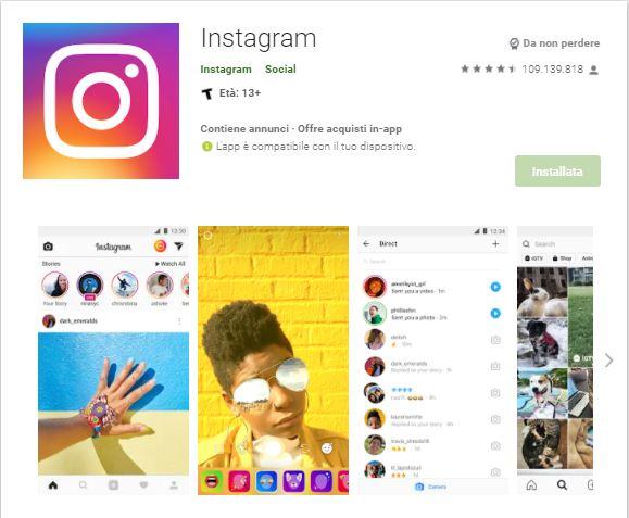 Instagram su Google Play