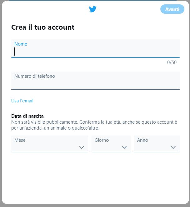 Finestra creazione account Twitter