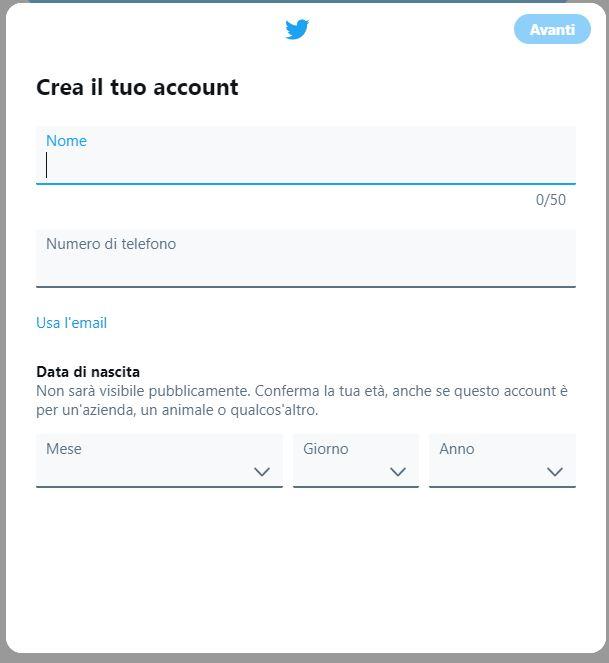 Finestra creazione account Twitter