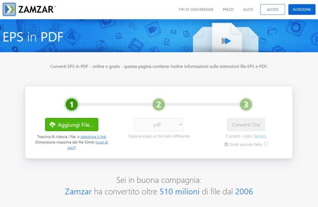 ZamZar conversione EPS a PDF