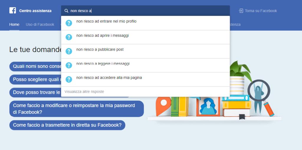 cercare problematica facebook