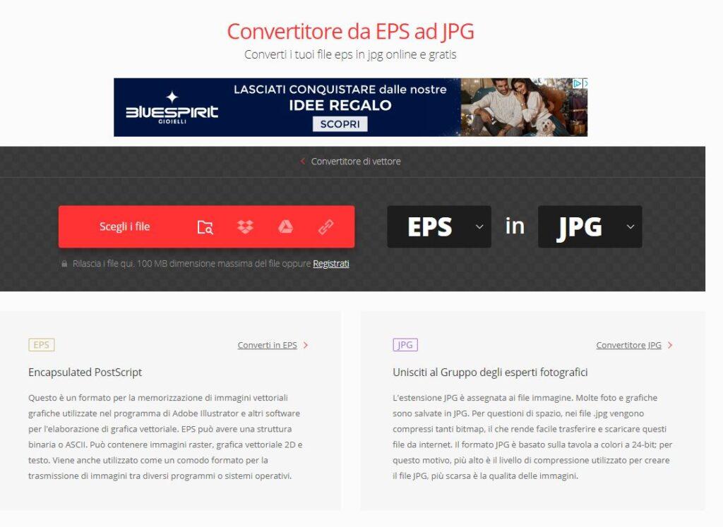 Convertio.co conversione da EPS a JPG