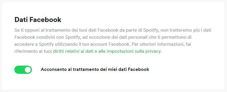 disabilitare collegamento spotify facebook