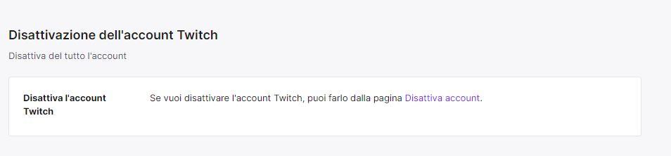 disattivare account Twitch