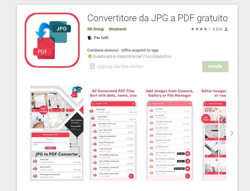 Convertirore da JPG a PDF Gratuito
