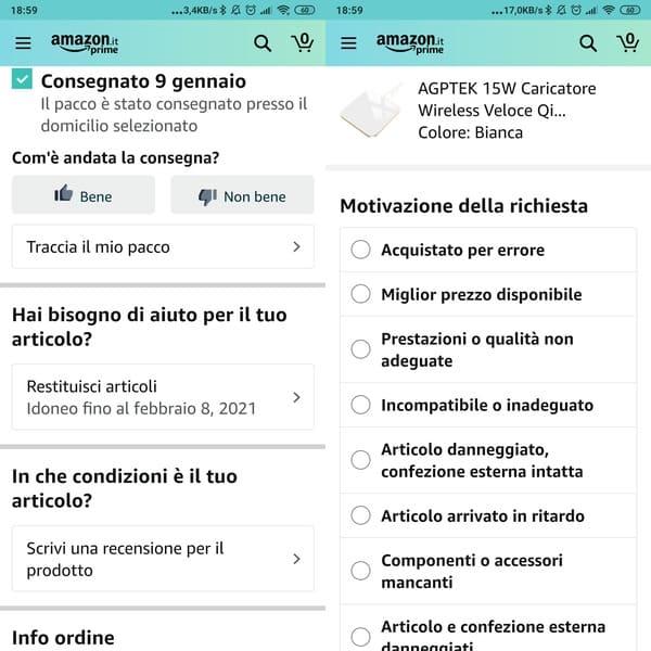 Restituire un articolo su Amazon