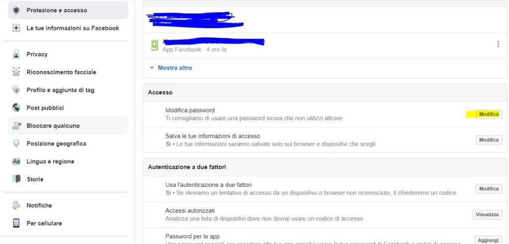 modifica password facebook Pc Mac