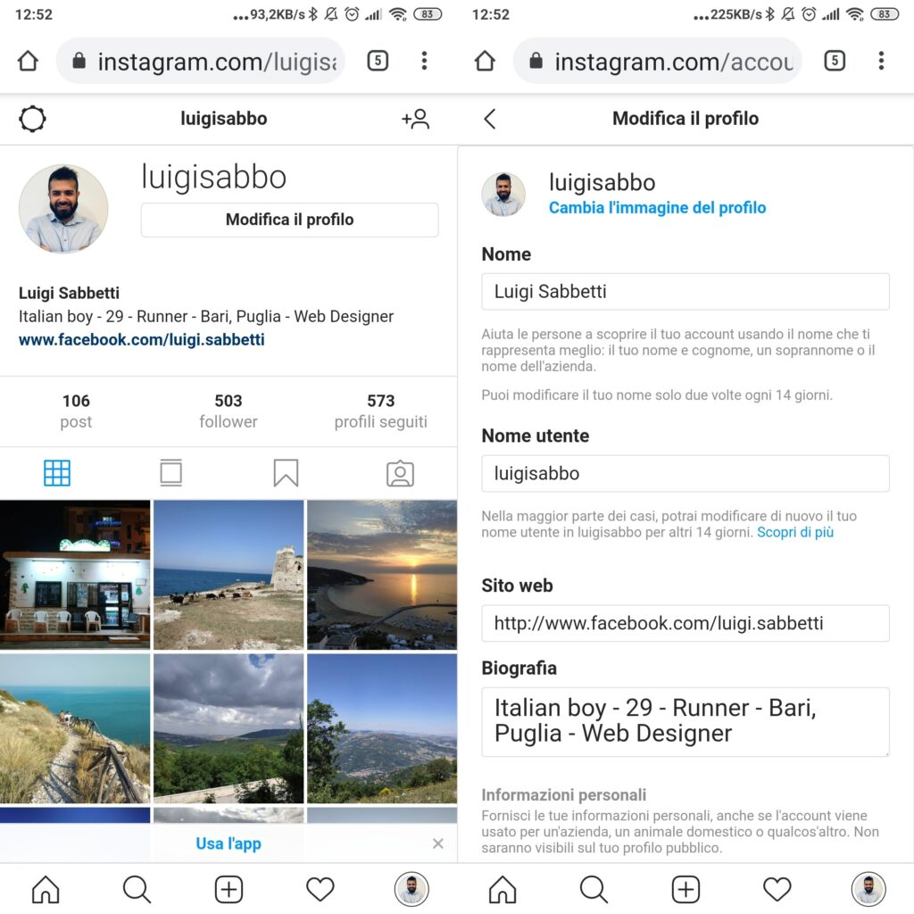 Cambiare biografia browser mobile