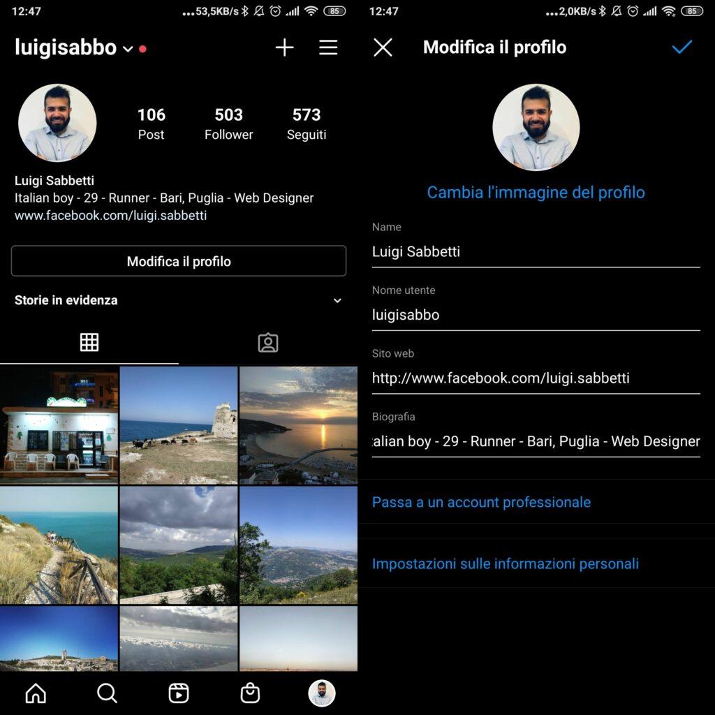 Modifica biografia su app android