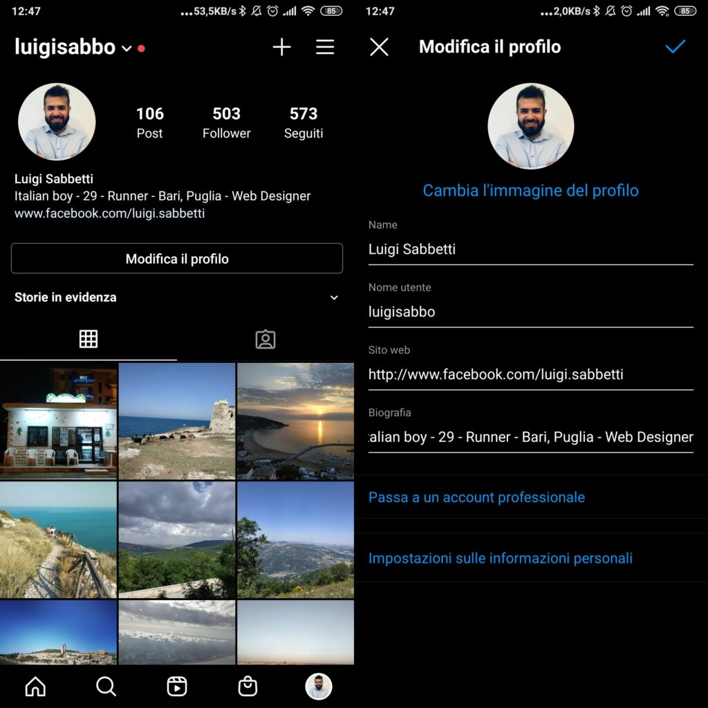 Modifica biografia su app android