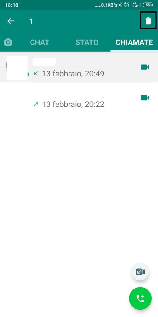 cancellare singola chiamata whatsapp