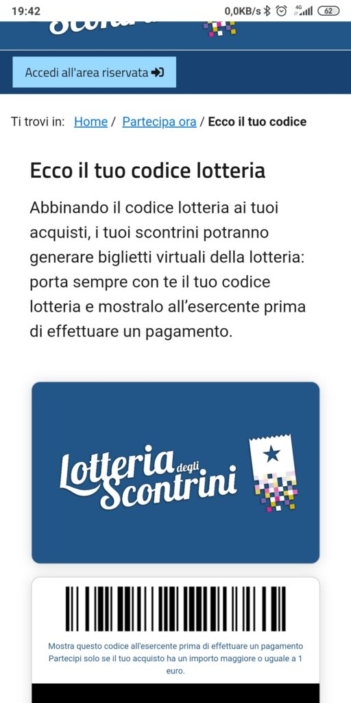 codice lotteria generato