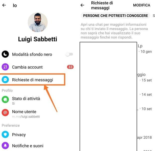 vedere le richieste di messaggi su android