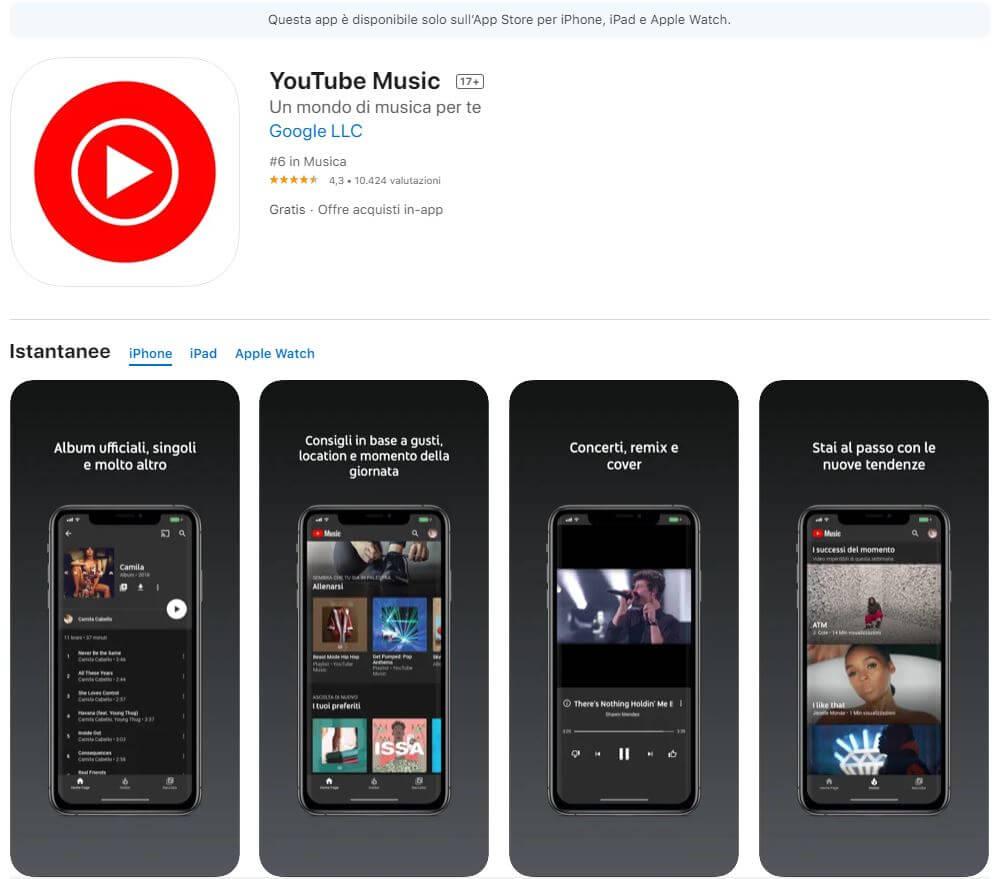 YouTube Music su App Store