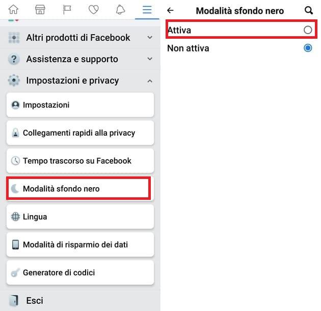 attivare modalita scura facebook su android