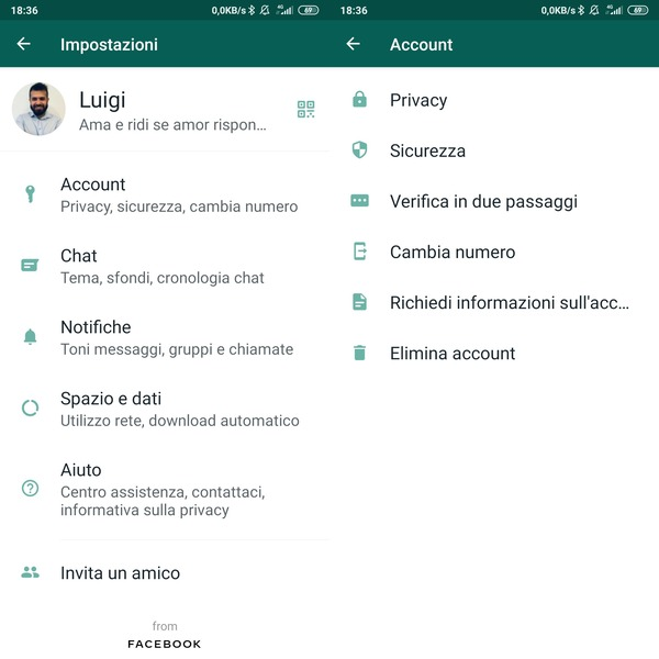 eliminare account whatsapp android
