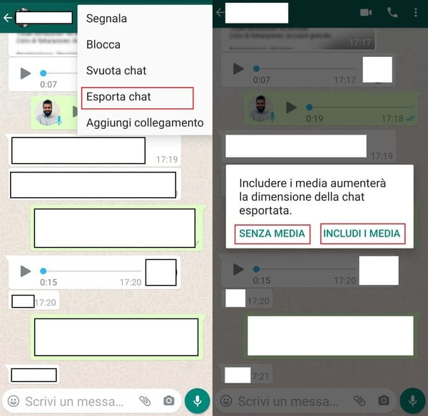 esportare chat whatsapp