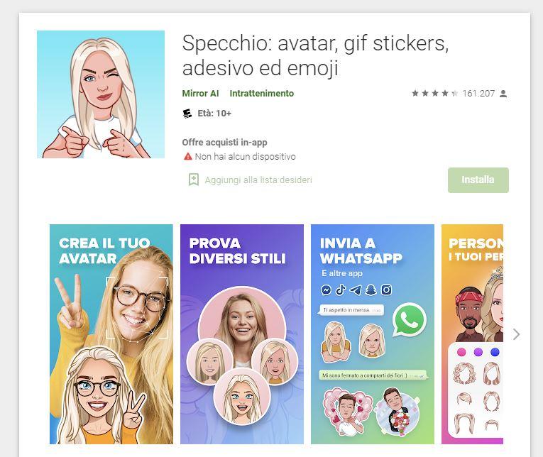 Specchio - App per creare avatar