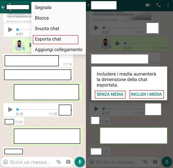 esportare chat whatsapp su android