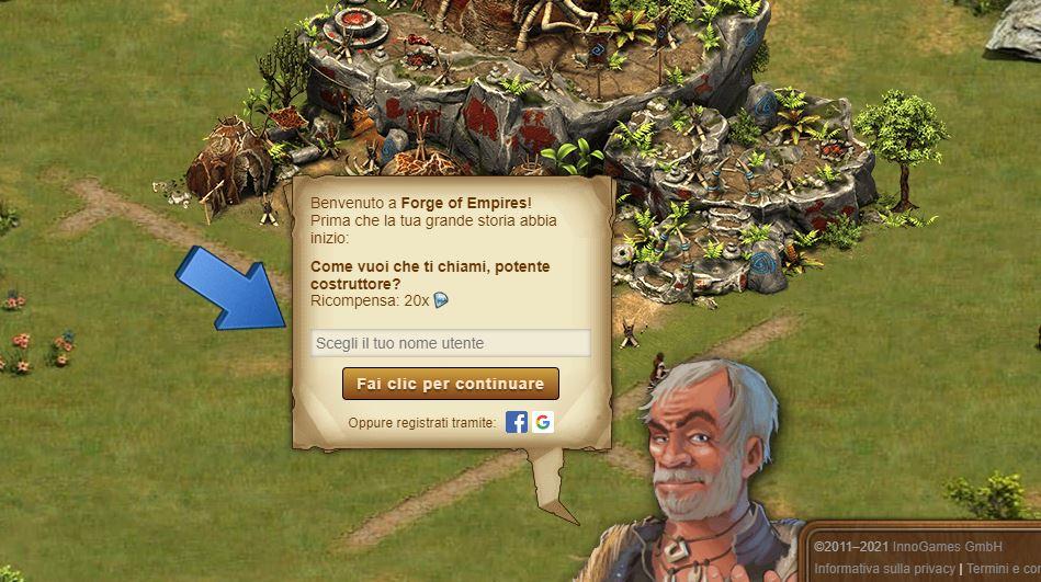 Registrazione Forge of Empires