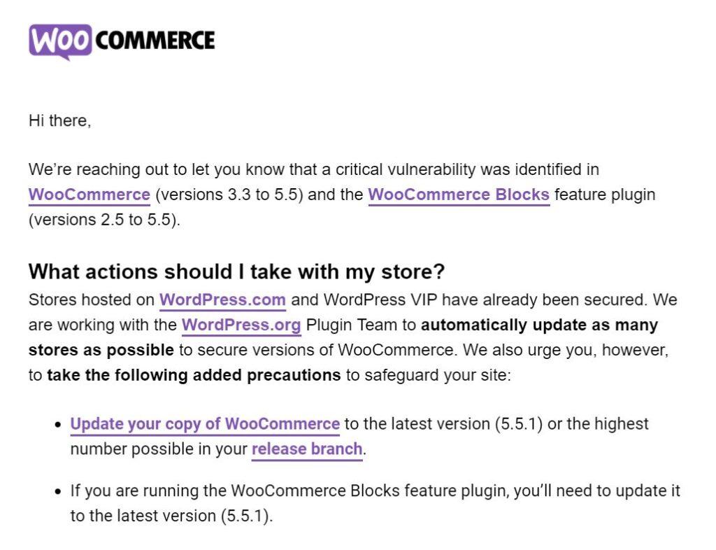 mail woocommerce