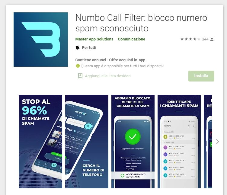 numbo call filter